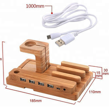 Wooden Dock Stand Charger Holder Desk with USB ports for iPhone Mobile Phone Charging Station For Apple Watch Accessories