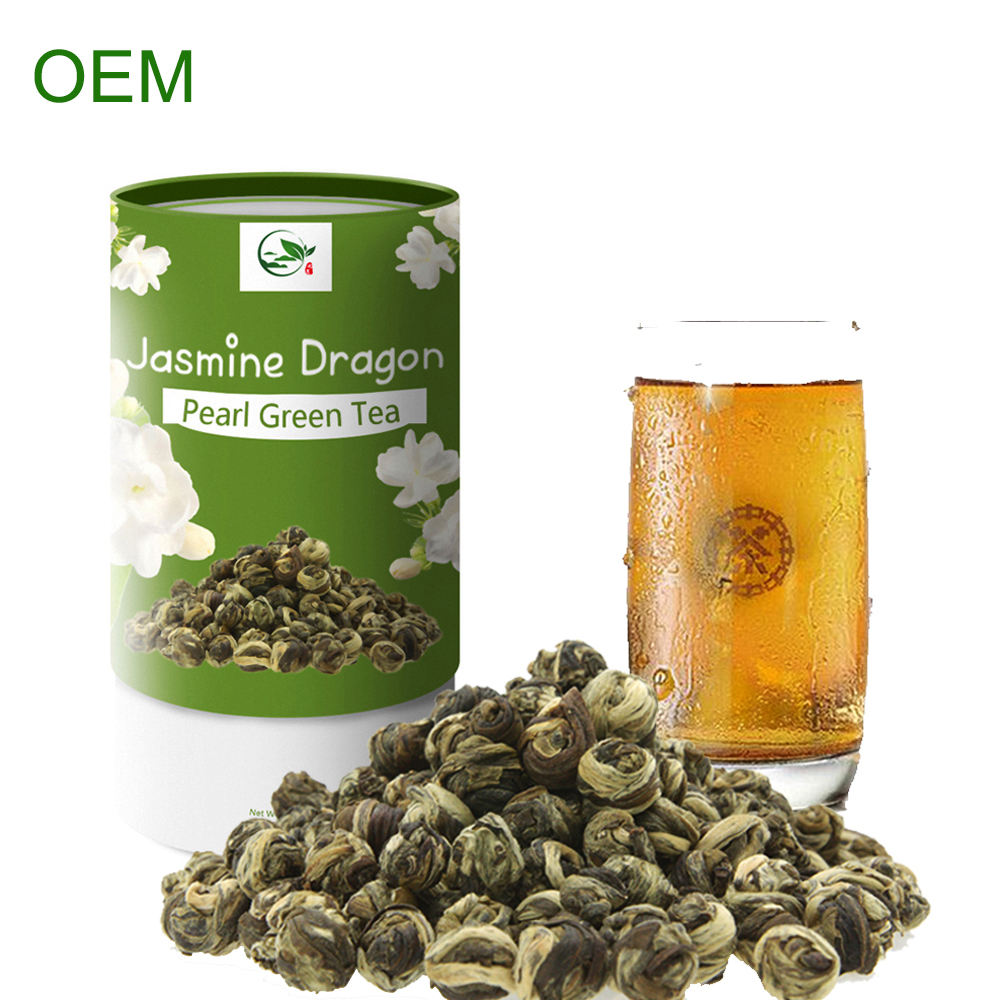 Best Selling Fujian Handmade Brands Health Benefits Jasmine Flavour Tea Dragon Pearls Green Tea Leaf With Private Label