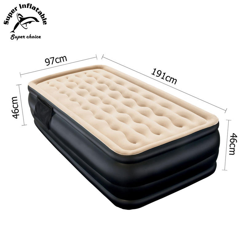 Air Filled Comfort Flocked Top Raised Single Airbed, Twin Size Inflatable Air Bed Mattress With Built In Electric Pump