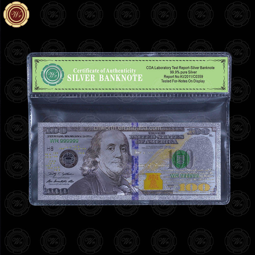 WR Customized USA Banknote Design 99.9 Silver Foil Paper Money with Free Holder