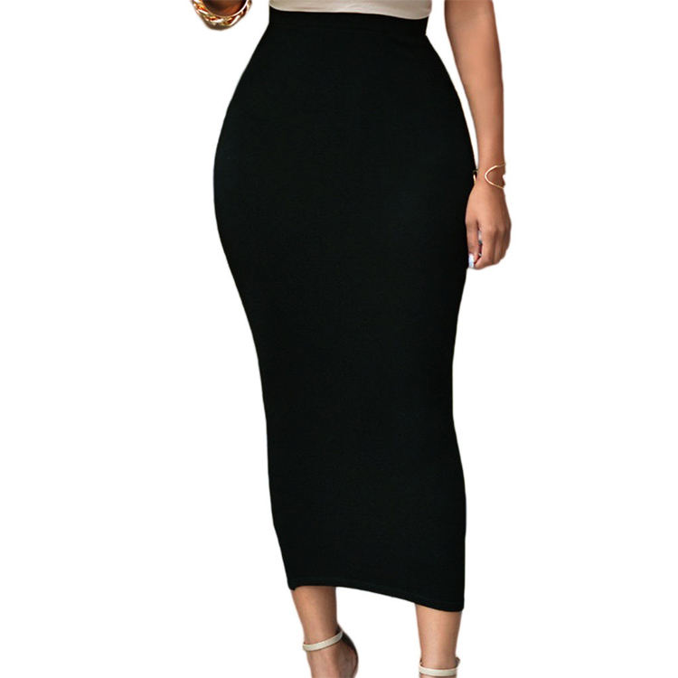 Small Order Cheap Womens Dresses Solid High-Waisted Bodycon Long Maxi Skirt