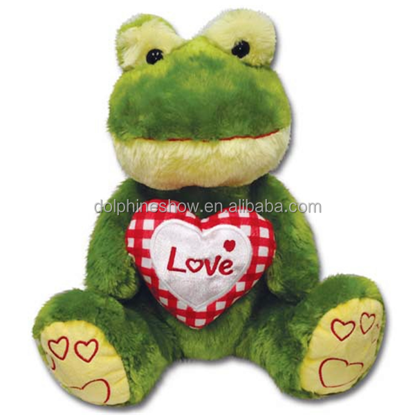 Cheap LOW MOQ Stuffed Animal Green Frog Plush Toy With Red Heart Promotional Cute Valentine Gift Soft Toy Frog Plush
