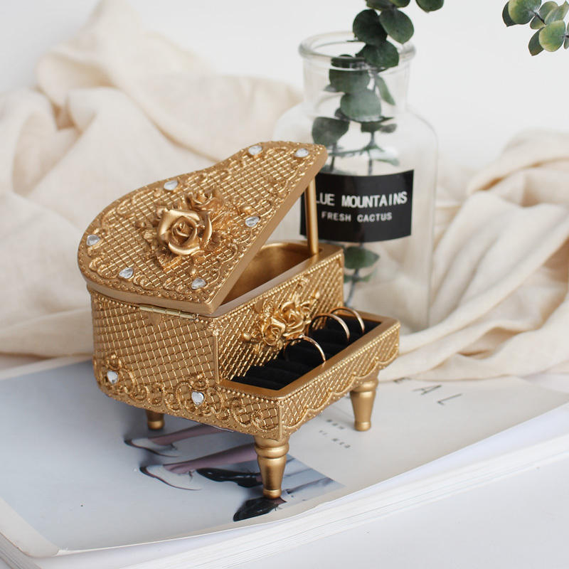 Piano European style princess ring earring jewelry box