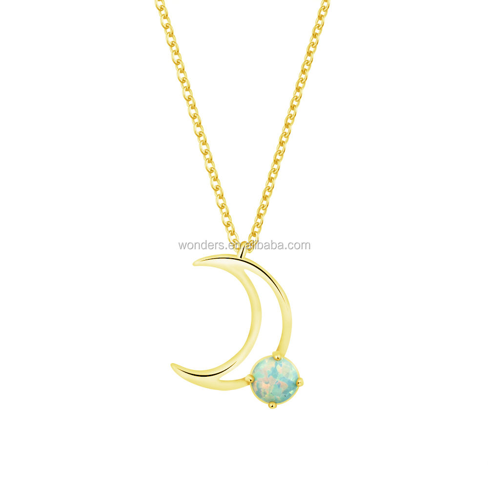 Blue Opal Crescent Moon Pendant Necklace Girls Stainless Chain Jewelry