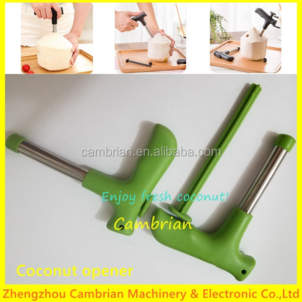 Stainless steel coconut corer drill helper for fresh coconut