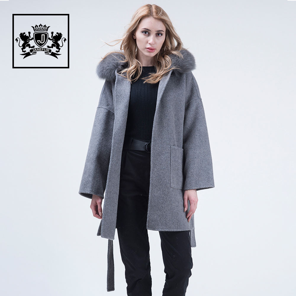 Long Style Winter wool women cashmere coat with real fox fur hood
