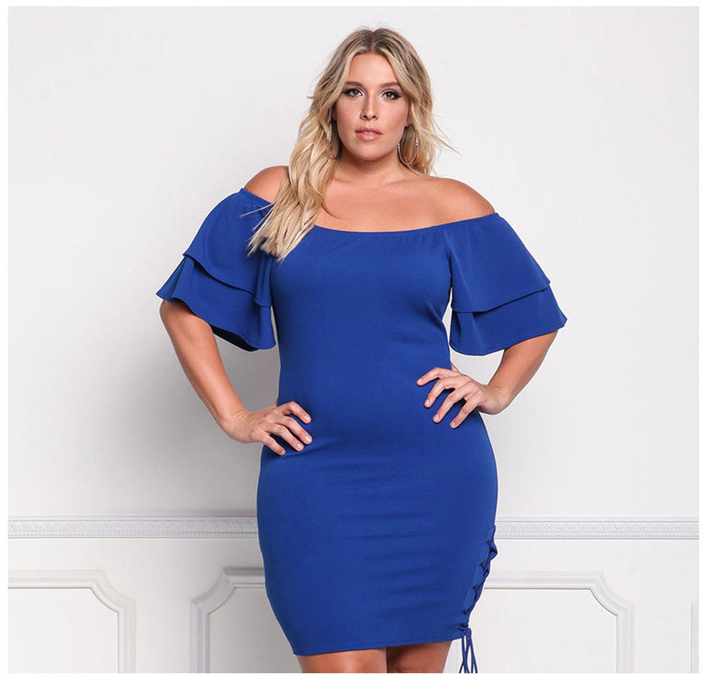 FX170095 Wholesale AliExpress 새 느낌 Knit \ % Off The Shoulder Sexy Hip Split 끈 Plus Size Dress