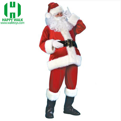 New wholesale adult size velvet fabric Santa Claus costume clothes Velvet costume for Christmas