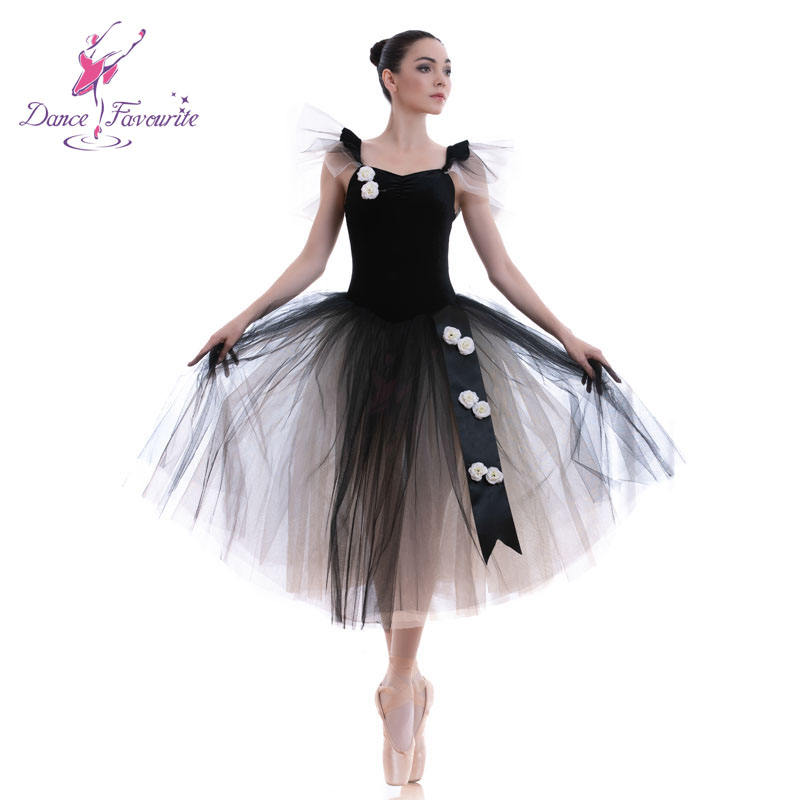 Black Long Romantic Tutus Ballet Dancing Puffy Tutu Leotard Dresses for Girls Ballerina Costume 18439