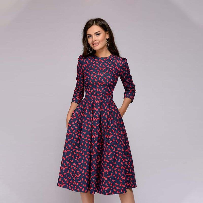 New Women Elegent A-line Dress Vintage printing party vestidos Three Quarter Sleeves women Autumn Dress