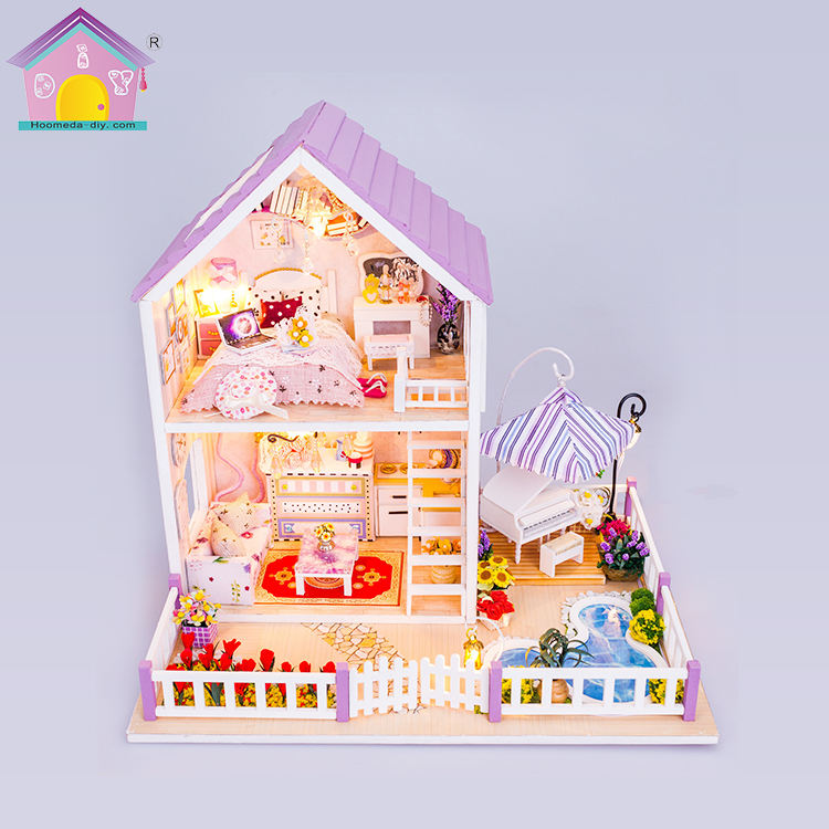 Hoomeda diy wedding souvenirs guests kids tiny wooden doll house toy