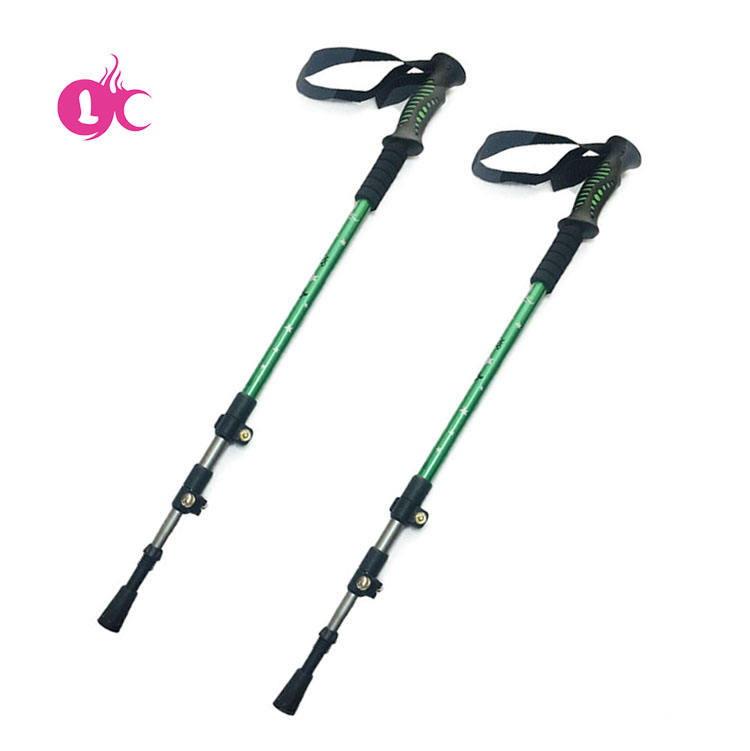 Factory price OEM Retractable aluminum colorful trekking poles hiking aluminium pole for outdoor sport