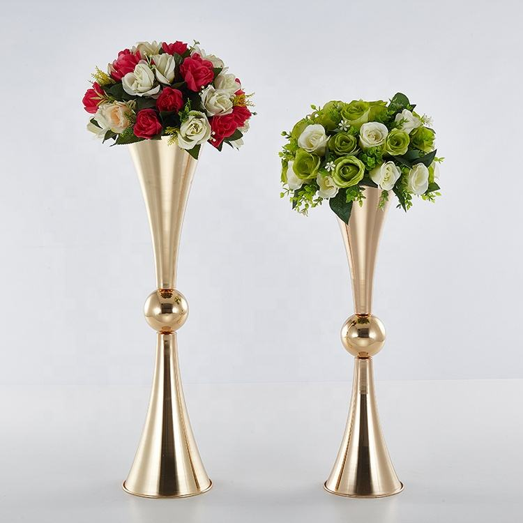 latest dual heads trumpet vase wedding decoration