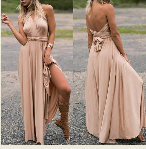Womens Sexy Long Dresses Summer Ladies Plain Grey Sleeveless V Neck Backless Maxi Dress