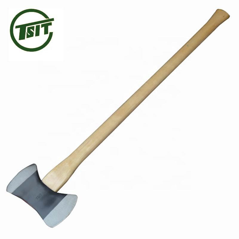 Double bit axe with wooden handle steel fire axe