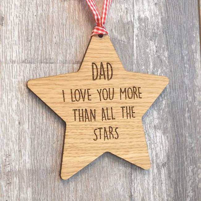 Unique Personalized Custom Hanging Wooden Star for Dad Daddy Gift Present