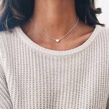 Fashion New Jewelry Gold Heart Pendant Short Thin Chain Ladies Chocker Necklace