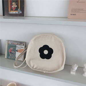 2018 싼 China Supplier Round 웃 고 Face Shoulder Bag Cute 이모티콘 Printed Canvas Tote Bag
