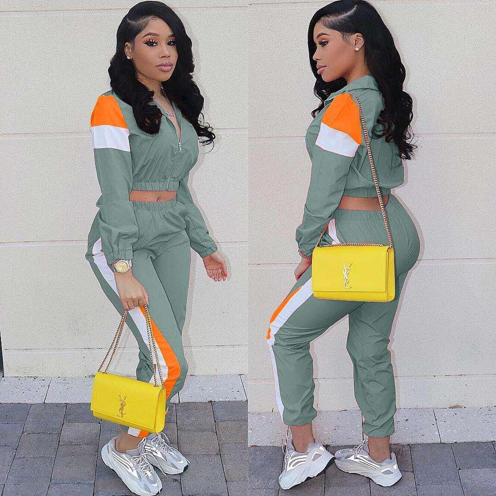 2 Two Piece Set Women Clothes Striped Zip Tops + Pants Sweat Suit Casual Outfits Matching Sets Tracksuit Y11357