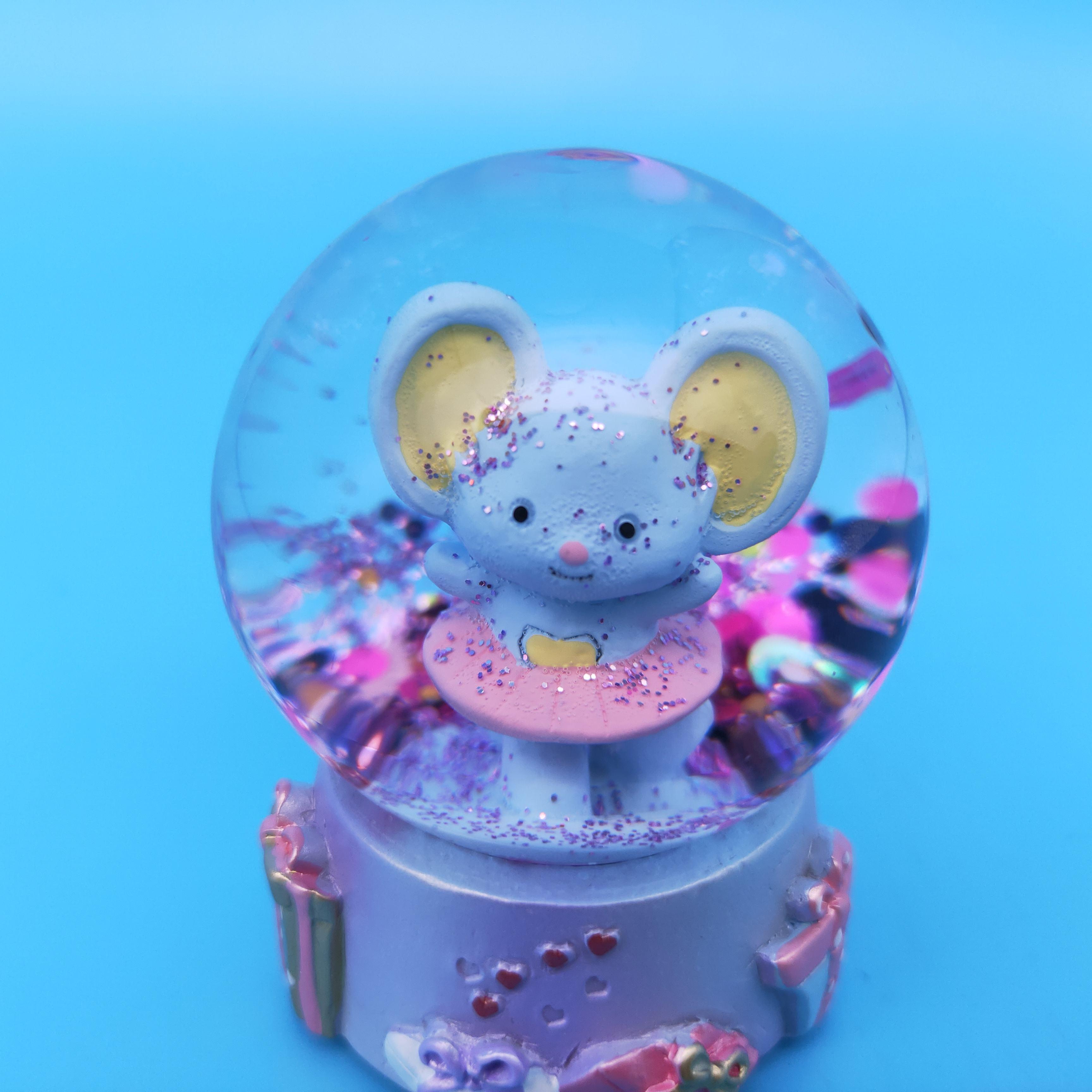 Precious Moments Resin//Glass Love You Tons Elephant Musical Snow Globe Gray Chevron