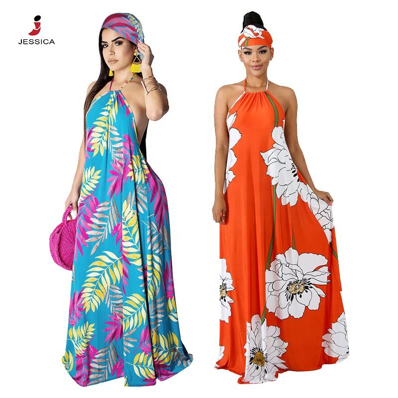 SYA8322 Summer Halter Printed Long Maxi Dresses With Bandeau For Ladies