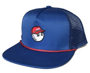 100% Nylon royal blue trucker hat with string, wholesales 5 panel flat brim with red rope trucker cap