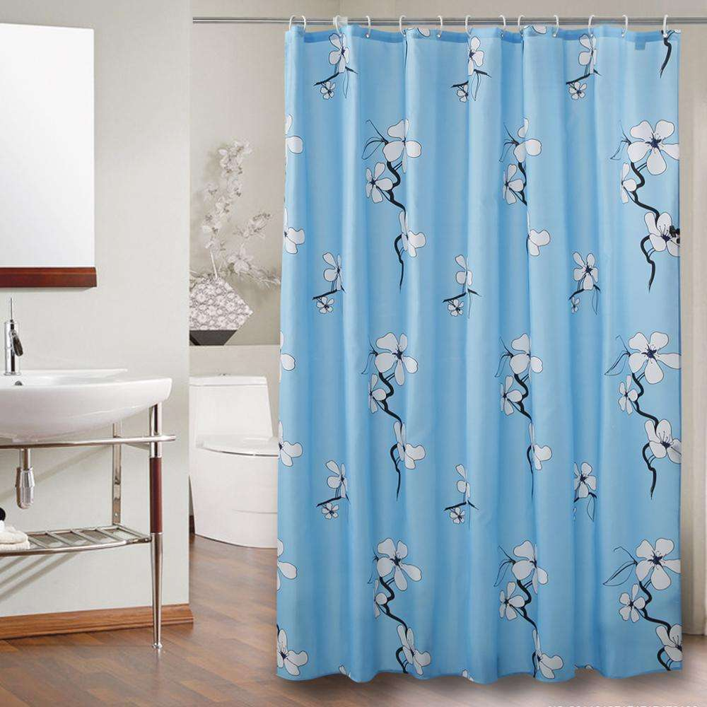 molotu blue color flower polyester Shower Curtain Liners Private Bathing Shower Curtain