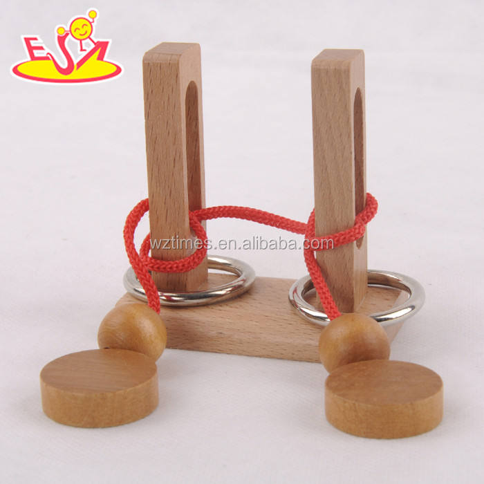 Wholesale interesting diy children wooden kids rope puzzle to training IQ W11C024
