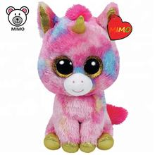 LOW MOQ Cheap Rainbow Unicorn Plush Toy With Horn Promotion Gift Big Eyes TY Brand Pretty Pink Soft Toy Plush Stuffed Unicorn