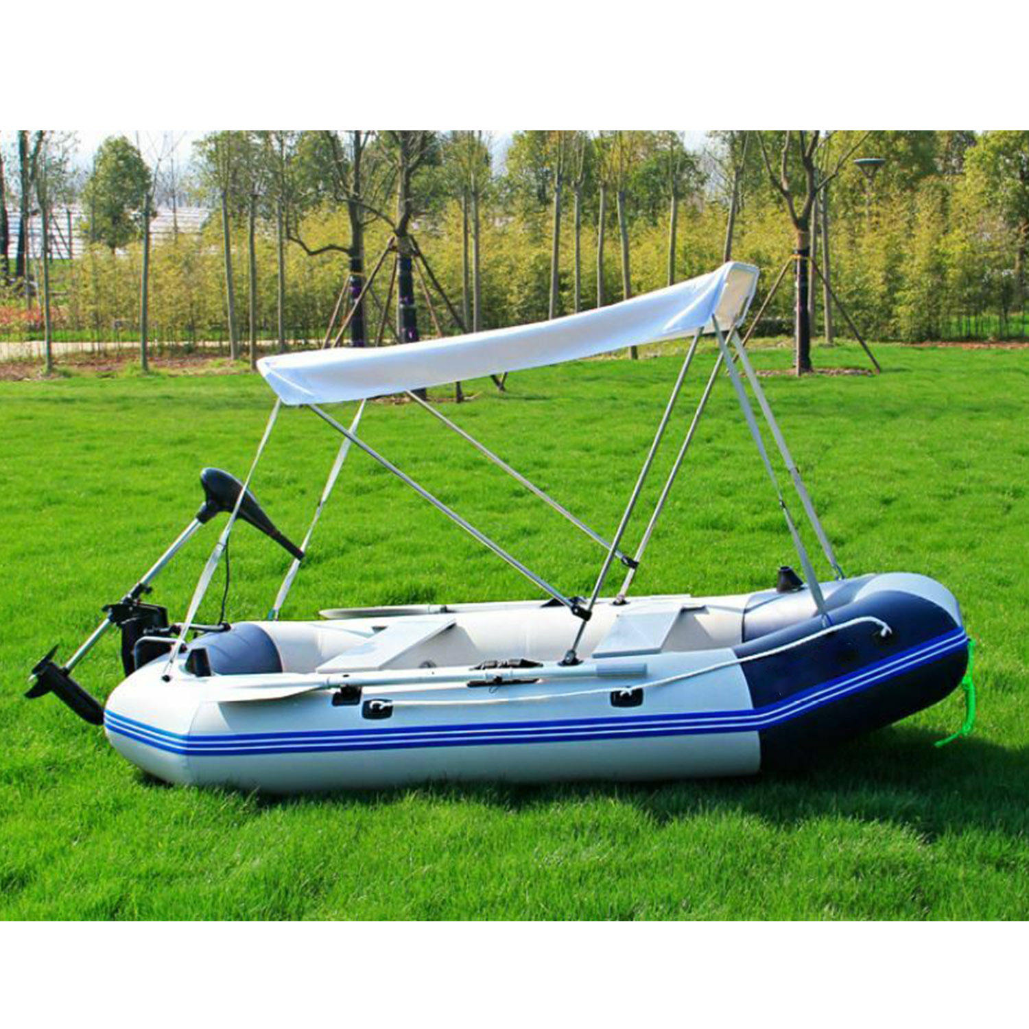 Inflatable 1.2mm PVC Dingy Raft Fishing Boat W/ Canopy & Aluminum Floor NEW