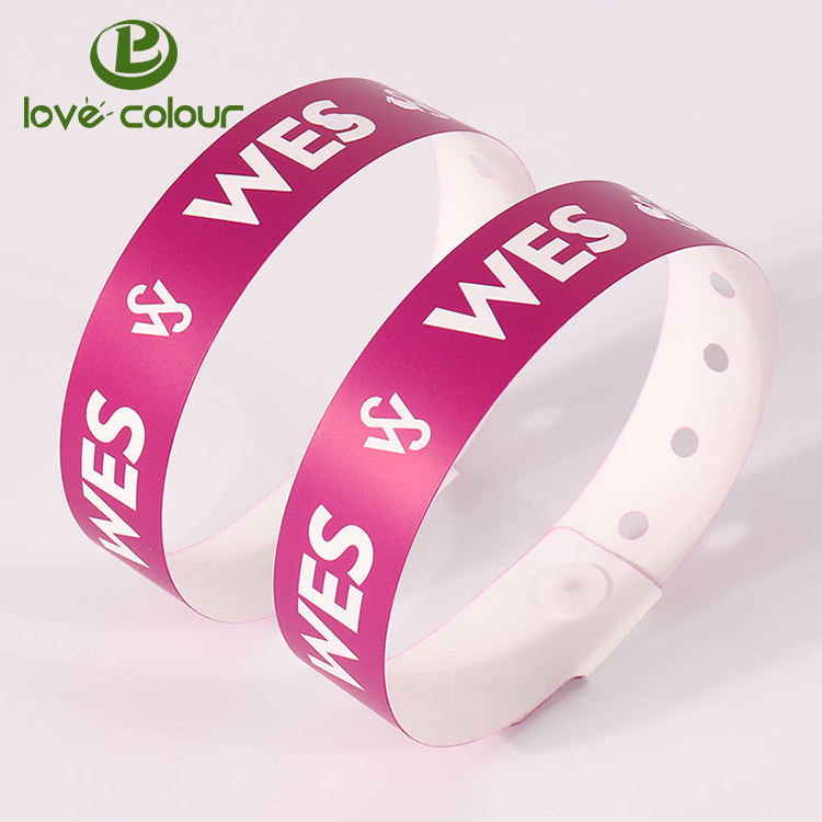 Custom Printed PVC Vinyl Wristband One Off Tyvek Wrist bands