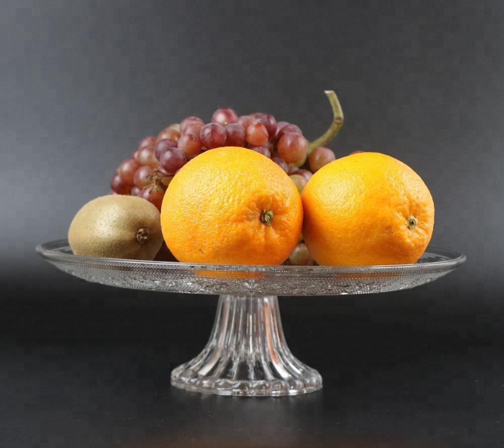 Glass plate dish with foot tableware for fruit