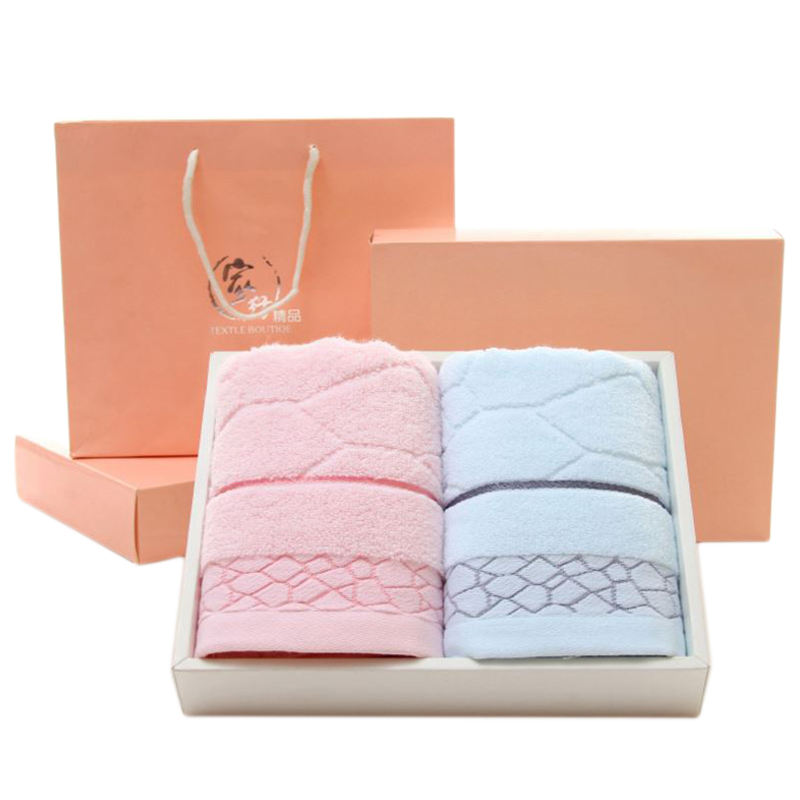 Promotional Custom Soft Comfortable 100% Cotton Hand Face Towel Sets 2 Strip With Gift Box Bath Towel