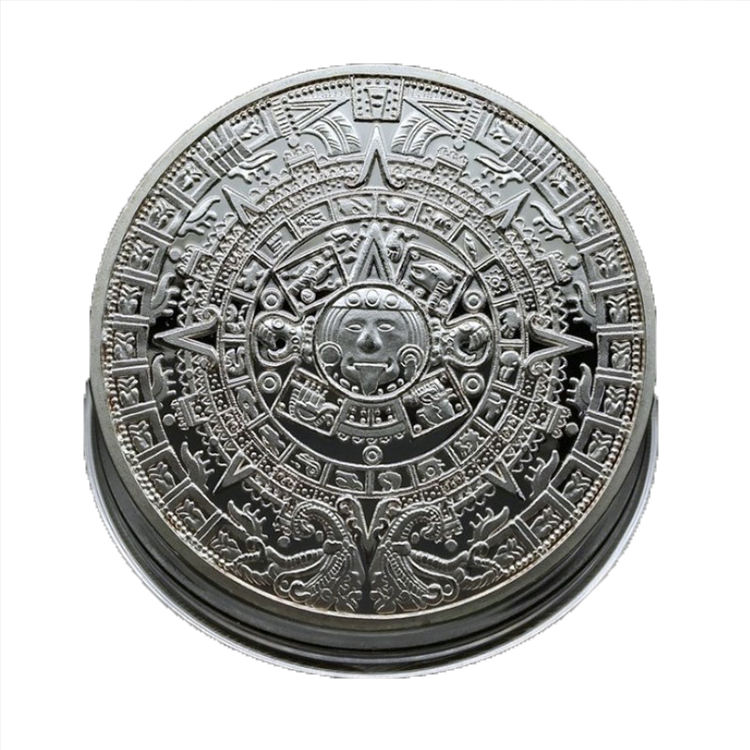 Customized Metal Ancient Mayan Pyramid Sundial Calendar Souvenir Coin
