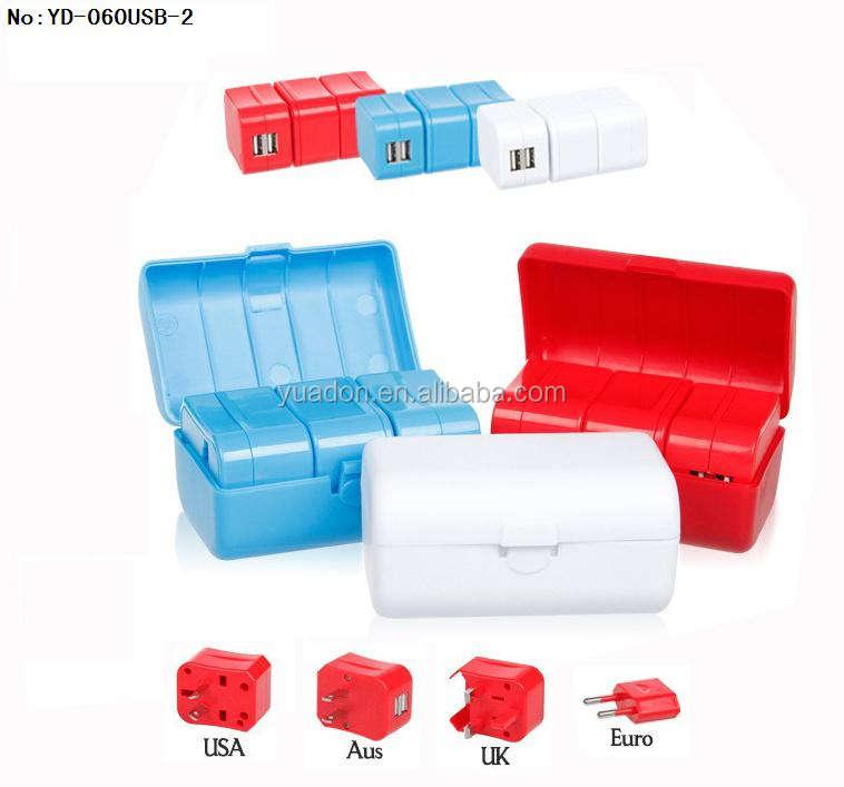 Promosyon hediyeler evrensel fişler USB seyahat adaptörleri ile kılıf