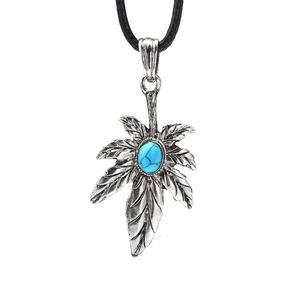 Antique Silver Plated 잎 펜 던 트 Necklace, 터키석 Gemstone 펜 던 트 Necklace
