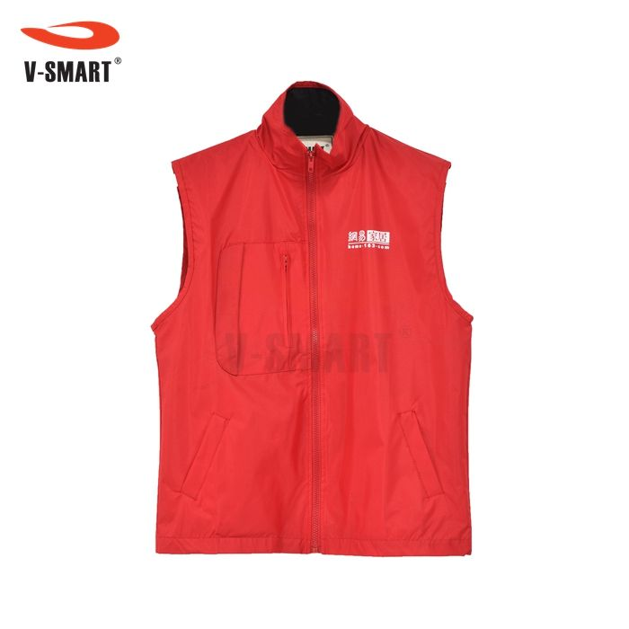 Custom Promotional Uniform Cheap Vest Waistcoat Advertising Clothes Red Pockets Zipper Sleeves Work Vest Life Jacket
