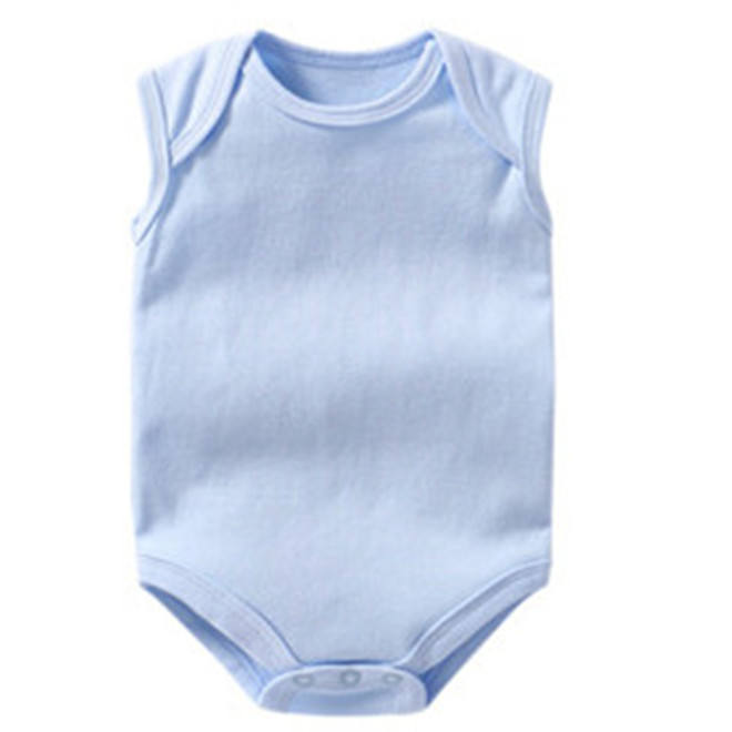 Cutstom Printing 100% cotton blank color plain sleeveless newborn baby bodysuit grow romper for 0-24 months
