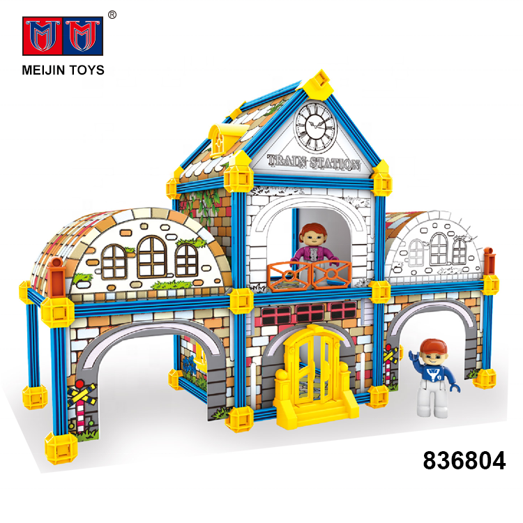 Montage zug station blöcke spielzeug 101 PCS <span class=keywords><strong>kinder</strong></span> malerei diy mit 12 farbe stift