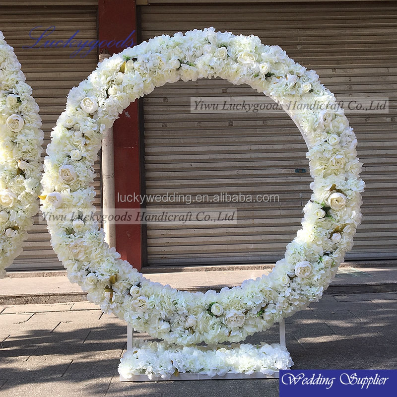 LFB476 cream white rose peonies artificial flower round event arch for sale