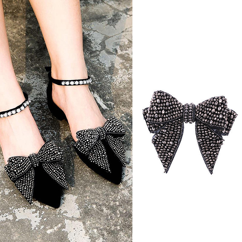 Pair Women Ladies Shoe Charms High Heels Shoes Accessories Bows Crystal Silver