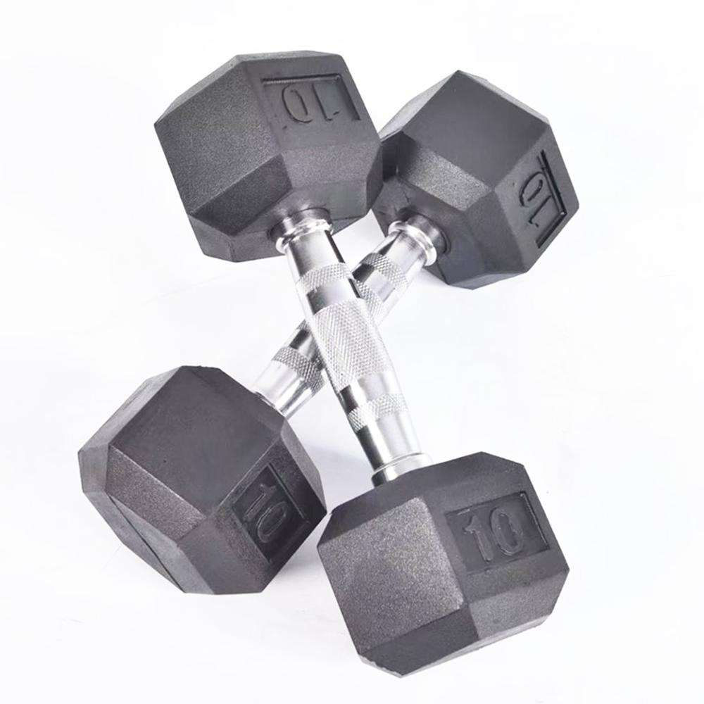 High quality Chrome handle black rubber hex dumbbell for weightlifting fitness exercise.