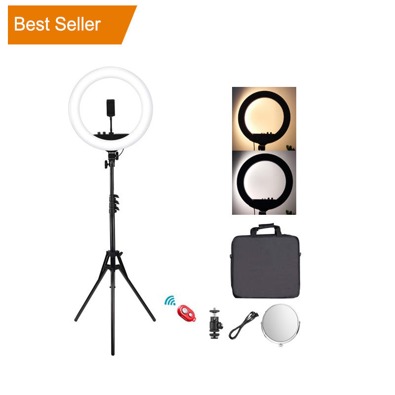 "Factory 18"" Continuous Shooting Makeup Photography Dslr Camera Video Led 18 inch Ring Light with Tripod Stand"
