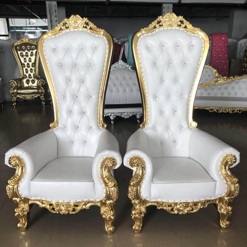 luxury royal cheap king throne chair gold wedding chair for bride and groom