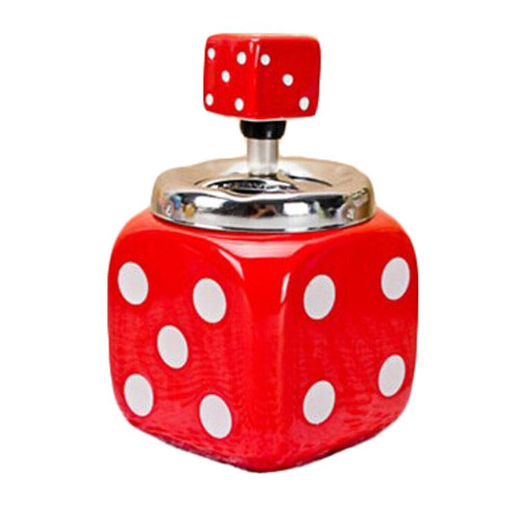 Hot Sale Personalized Handmade Ceramic Dice Shape Pressing Ashtray