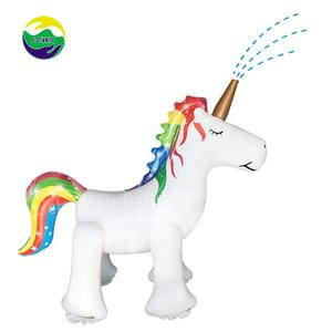 LC Rainbow Arch Sprinkler Summer Large Rainbow Cloud Unicorn Backyard Lawn Archway Outdoor Inflatable Water Spray Toy for Kids