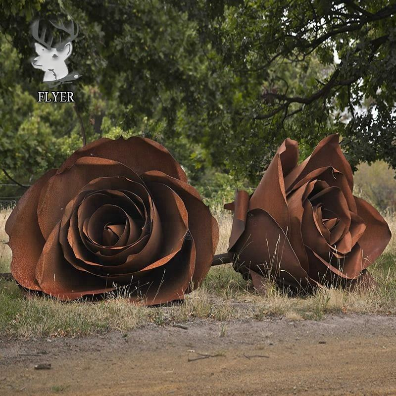 Large modern garden corten steel flower sculpture