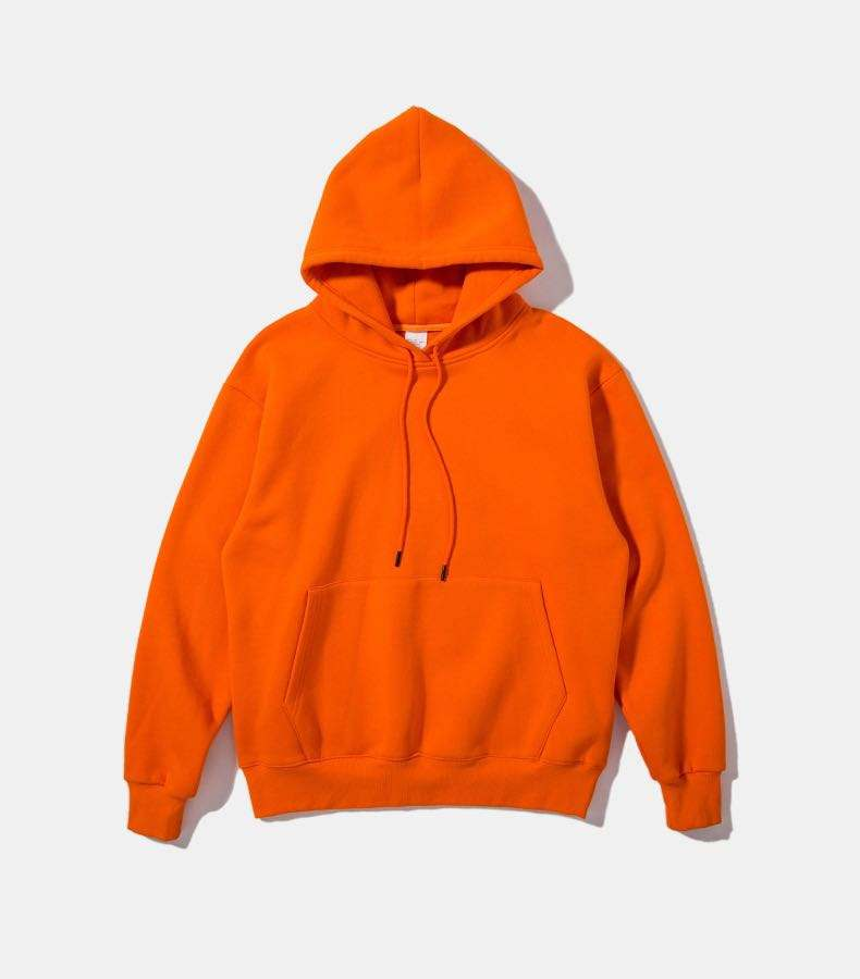 Wholesale 2019 heavyweight french terry plain orange hoodies for men