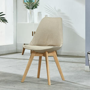 Beige velvet modern luxury tulip dining chair