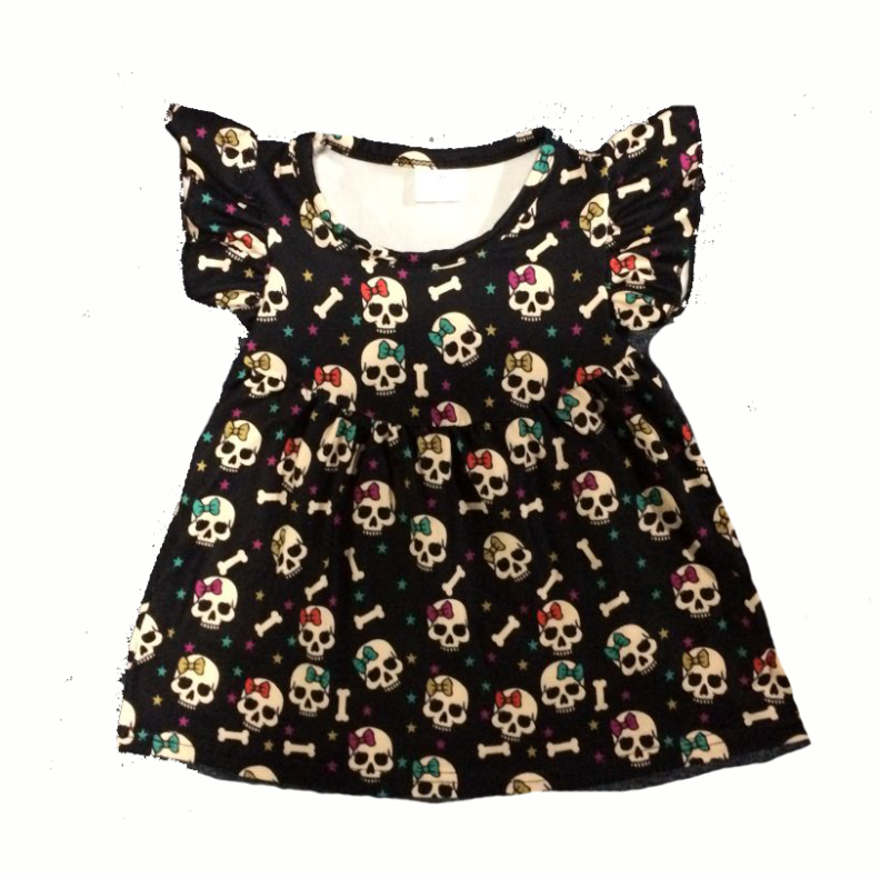 Hot Sale Girls Halloween Dress Skull Printing Pearl Dress